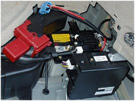 most hybrid vehicles such as the toyota prius feature a conventional 12 volt  auxiliary battery in addition to the high voltage hybrid system battery