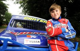 Albert Carter lines up for his first car race at age 12 - Yuasa
