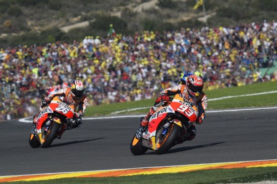 Marquez and Pedrosa celebrate season finale with double podium finish