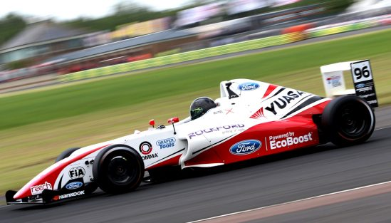 British Formula 4 driver Jack Butel battles the elements at Croft
