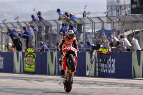 Marquez equals Doohan's record of 54 wins, taking a momentous home GP victory at Aragón