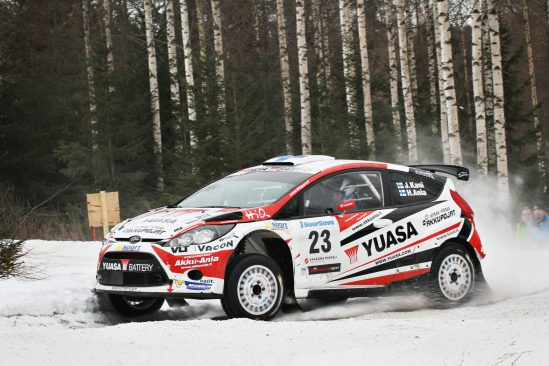 Yuasa sponsored team Kasing rally car. Finnish Rally Championship – Vaakuna Rally 17.-18.2.2017