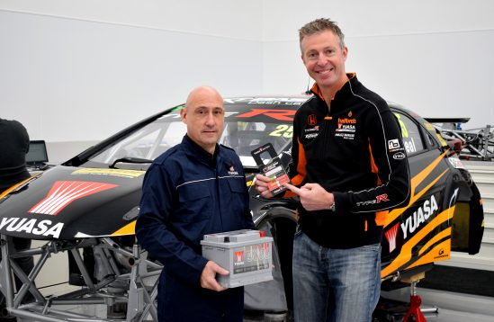 Yuasa check the battery on Matt Neal's Halfords Yuasa Racing BTCC Honda Civic Type R