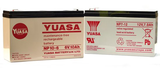 A Yuasa battery from 1989 (left) with a current model.
