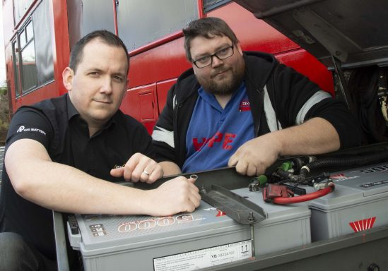 Peter Whittaker and Stevie James fitting the two Yuasa YBX5625 SHD batteries.