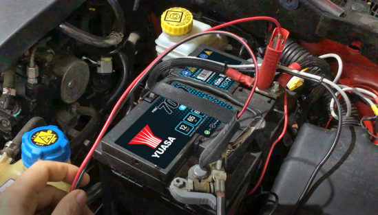 Yuasa battery being charged on vehicle