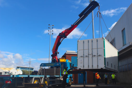 GS Yuasa Portsmouth port battery system container delivery begins next phase of innovative project
