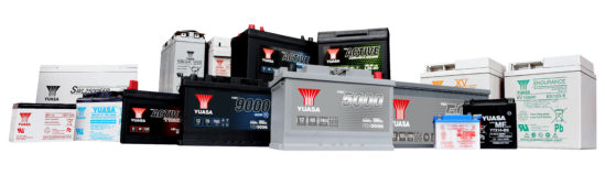 Yuasa's range of automotive and industrial batteries.