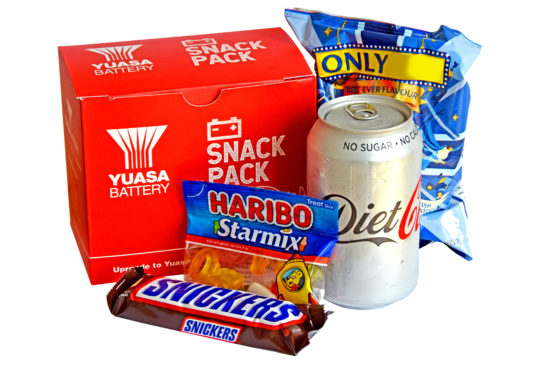 Yuasa to give away free snack pack with battery orders